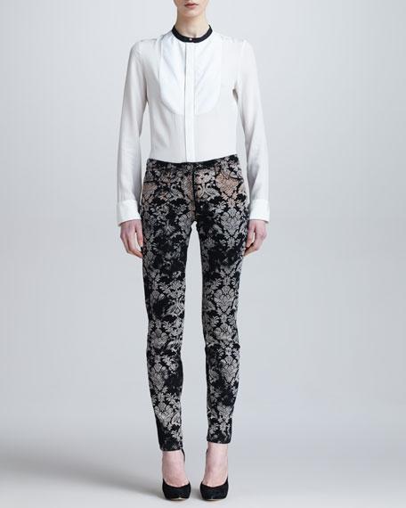 Baroque Printed Velvet Skinny Jeans