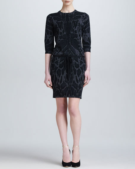 Leopard-Print Knit Dress, Black/Gray