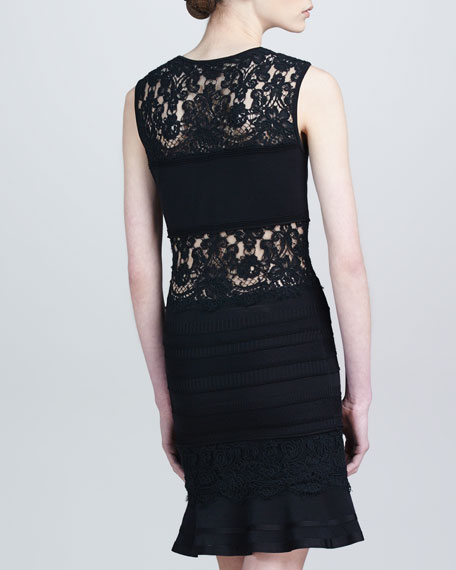 Lace-Panel Dress with Flounce