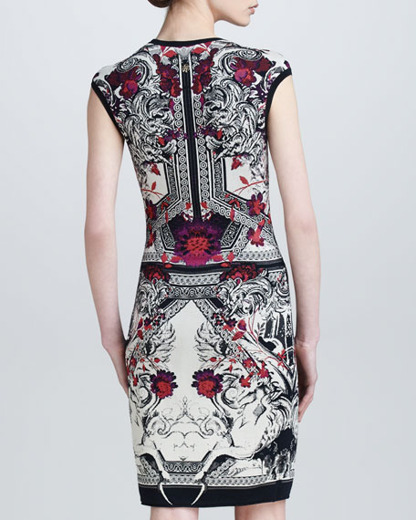 Artemisia Cap-Sleeve Baroque Jacquard Dress