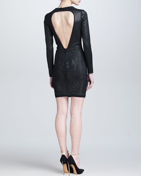 Embossed Leather Open-Back Dress, Black