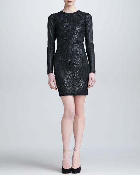 Embossed Leather Open-Back Dress, Black