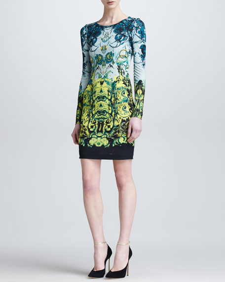 Long-Sleeve Baroque-Print Short Dress