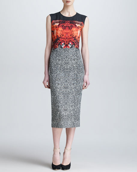 Tilda-Print Below-the-Knee Sheath Dress
