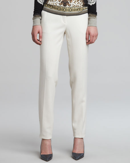 Cropped Stretch Wool Pants, White