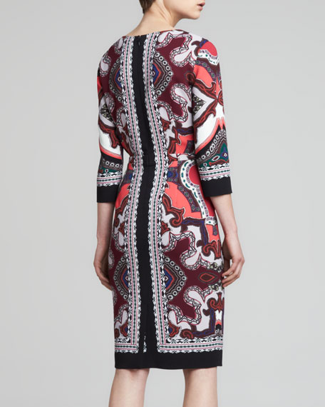 Printed V-Neck Dress, Pink/Black
