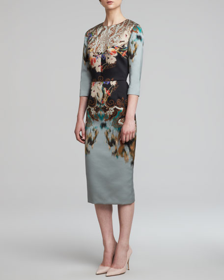 3/4-Sleeve Printed Techno Duchesse Dress