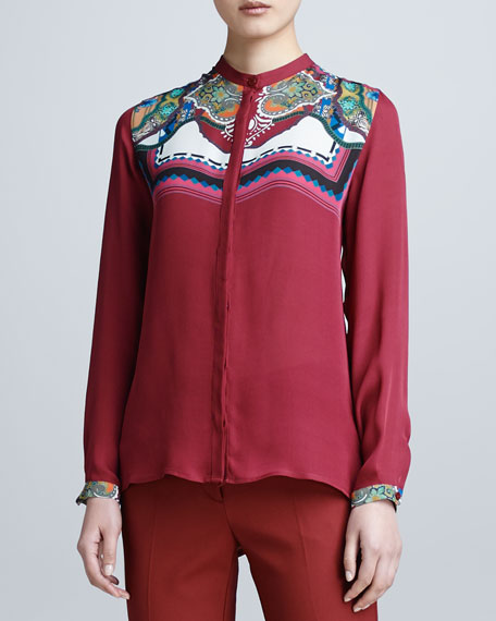 Long-Sleeve Print-Yoke Shirt
