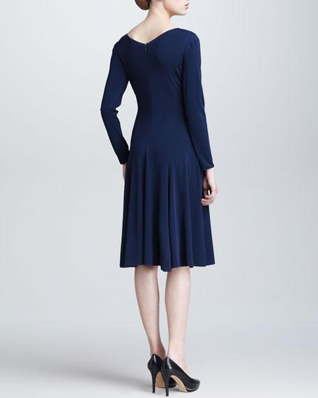 Full-Skirt Long-Sleeve Dress, Ocean