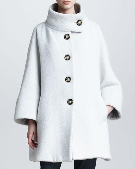 Funnel-Neck Fleece Swing Coat