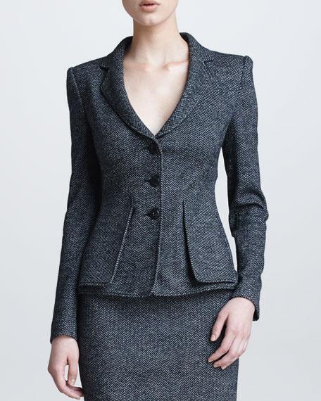 Herringbone Three-Button Jacket