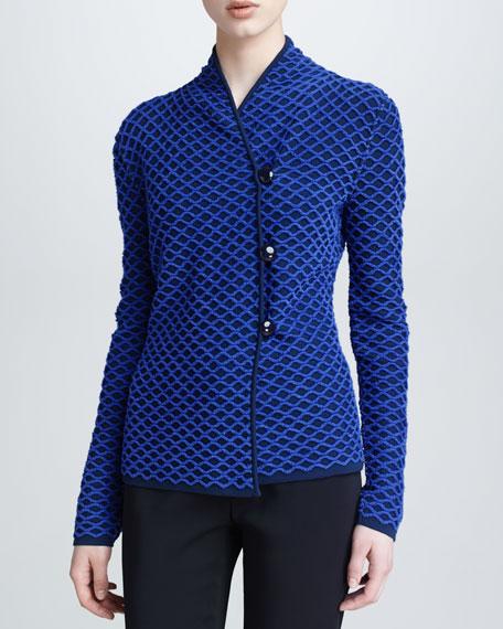 Asymmetric Basketweave Jacket, Cobalt