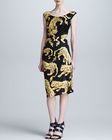 Tiger Baroque Print Ruched Dress