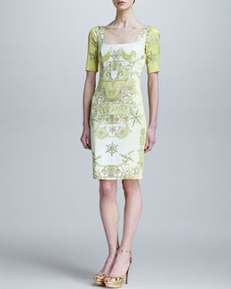Versace Collection Pegasus-Print Half-Sleeve Sheath Dress