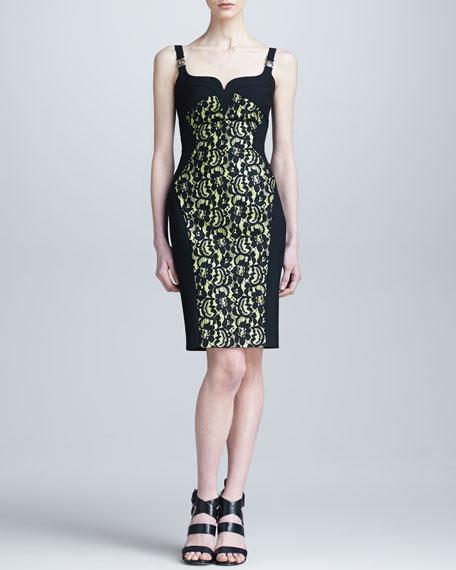 Lace-Overlay Medusa-Strap Dress