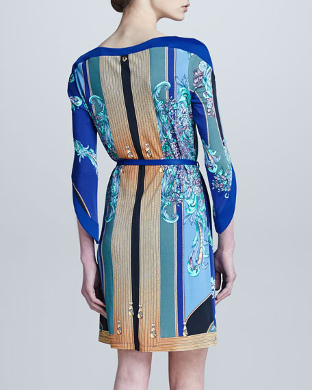 Three-Quarter Sleeve Printed Dress