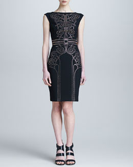 Versace Collection Sheath Dress with Baroque Crystal Beading