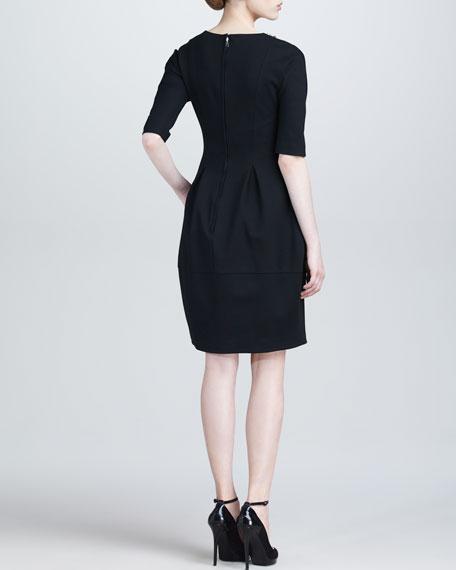 Half-Sleeve Jeweled-Neck Dress