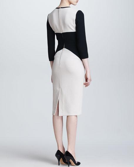 Colorblock V Neck Dress