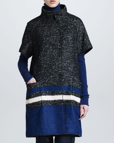 Tweed Striped Snap-Front Short-Sleeve Coat