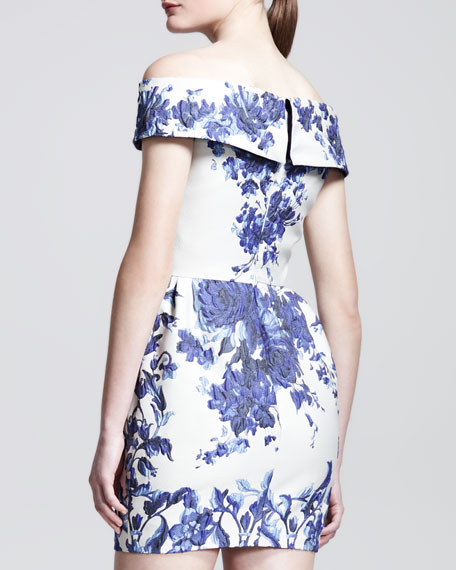 Ceramic Brocade Fold-Over-Shoulder Dress
