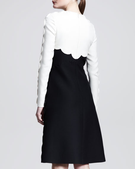 Bicolor Scallop-Edge Long-Sleeve Dress