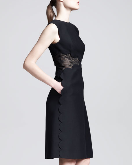 Lace-Inset Scallop-Edge Dress