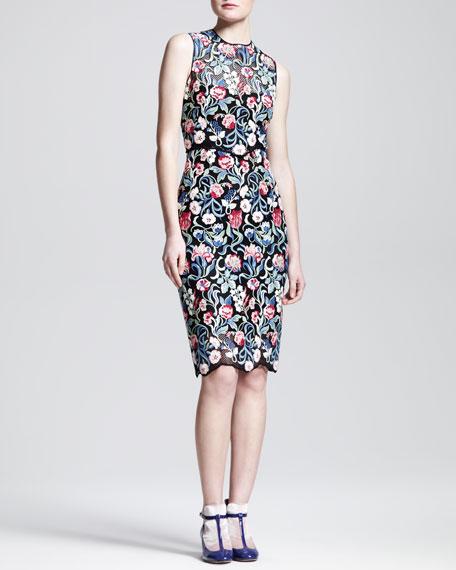 Sleeveless Tapestry Lace Sheath Dress