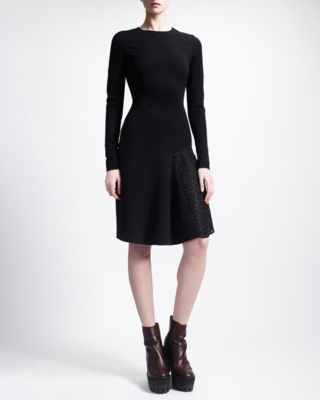 Long-Sleeve Lace-Godet Jersey Dress, Black