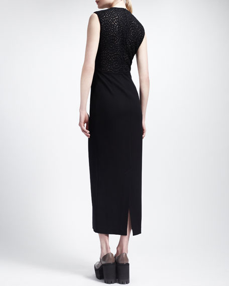 Long Sleeveless Dress with Lace Back, Black