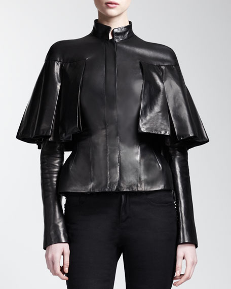 Long-Sleeve Capelet Leather Jacket