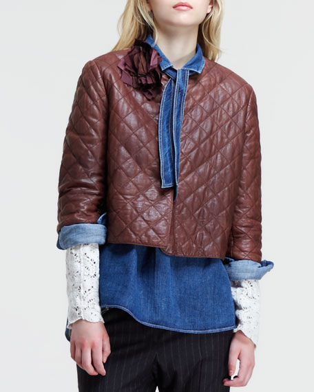 Boxy Quilted Leather Jacket
