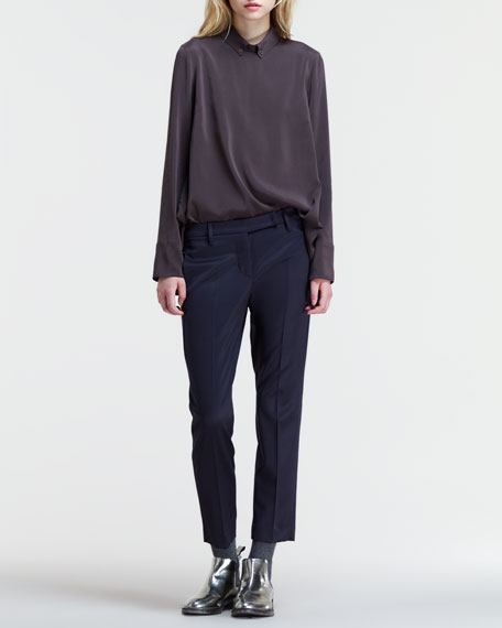 Cropped Silk Trousers
