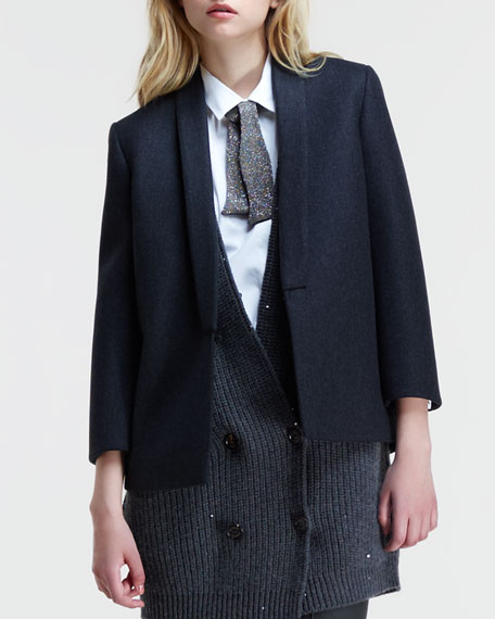 Neoprene Coated-Wool Short Coat