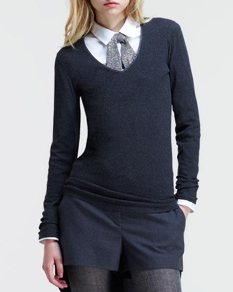 Long-Sleeve Monili-Neckline T-Shirt
