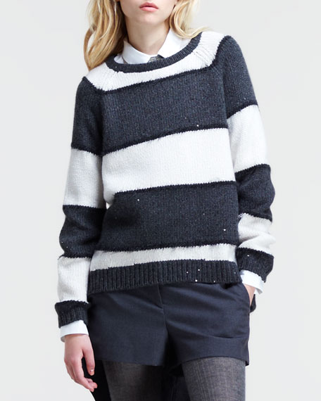 Sequined Striped Pullover Sweater