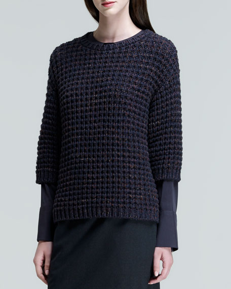 Three-Quarter-Sleeve Diamond-Knit Sweater
