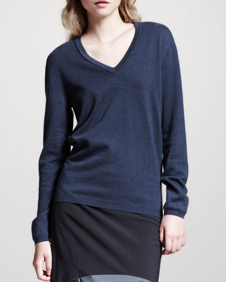 Basic V-Neck Elbow-Patch Sweater