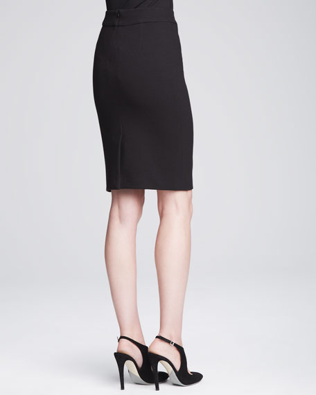 Knit Pencil Skirt, Black
