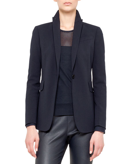 Long blazer, techno-wool,