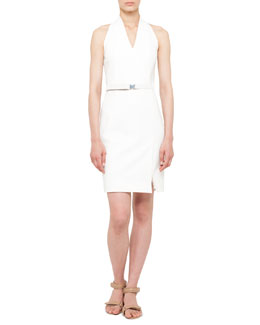Akris punto Belted Mesh-Back Dress