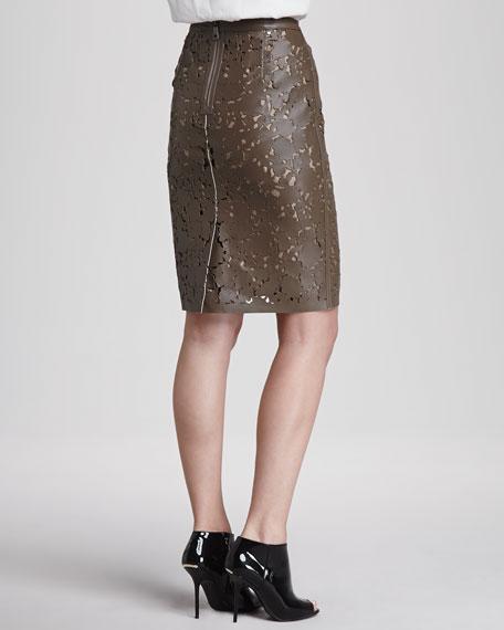 Laser-Cut Leather Pencil Skirt