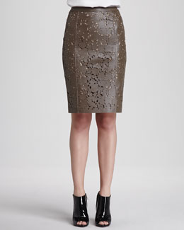Burberry London Laser-Cut Leather Pencil Skirt