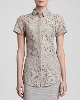 Burberry London Lace Silk-Underlay Button Blouse