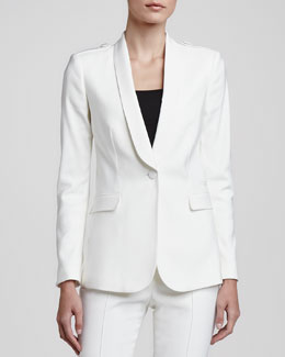 Burberry London One-Button Crepe Blazer