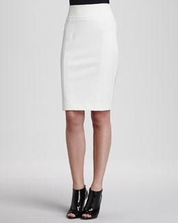 Burberry London Jersey Back-Zip Pencil Skirt