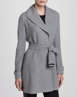 Burberry London Belted Cashmere Wrap Coat