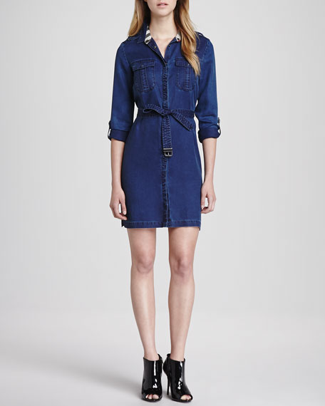 Long-Sleeve Denim Dress