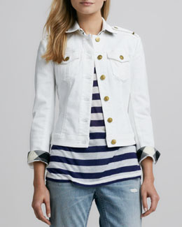 Burberry Brit Check-Trim Denim Jacket