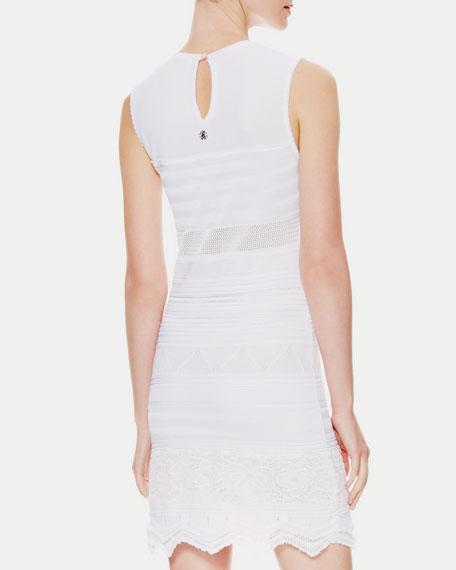 Zigzag-Hem Textured-Knit Dress